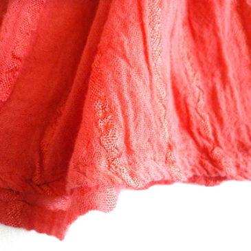 used greek coral orange camisole & black tiered skirt