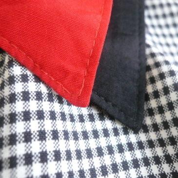 80's double collar panel shirts & linen high waist skirt