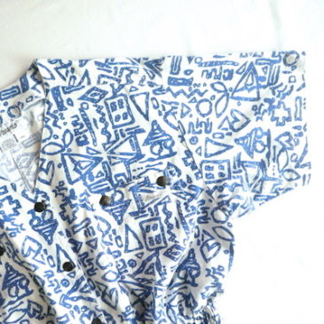 80〜90's blue white cotton all in one