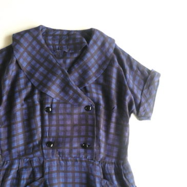 60's mid night blue plaid rayon dress
