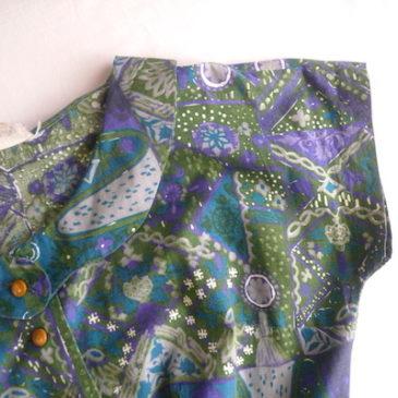 60's green pattern cotton dress