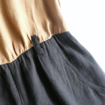 90's brown black linen rayon all in one