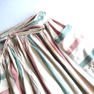 used white Jacquard  tops & late70~80's stripe wrap skirt