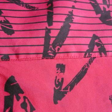 80's shocking pink silk tops & 90's ■ dots skirt
