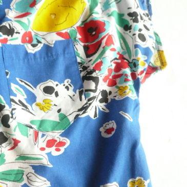 80's blue floral print cotton shirt