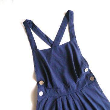 used navy salopette skirt & 80's mono-tone stripe cotton shirt