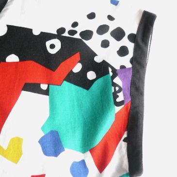 80's vivid color pattern dress