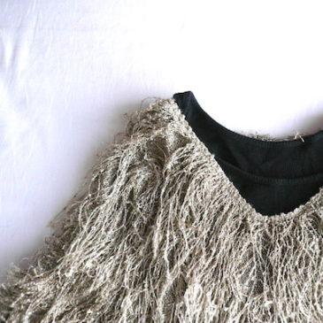 used sand beige fringe knit
