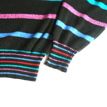 late 70~80's glitter malti stripe knit & Levi's blue corduroy pants