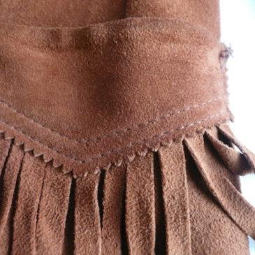 50〜60's suede leather fringe western jacket & 90's calvin Klein denim tight skirt