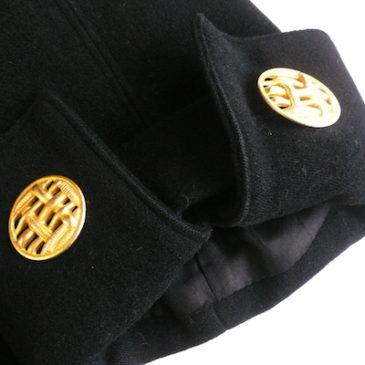 80's gold button black A-line coat