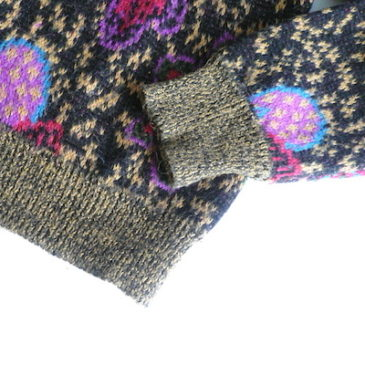 90's〜 flower pattern knit cardigan & high waist denim skirt