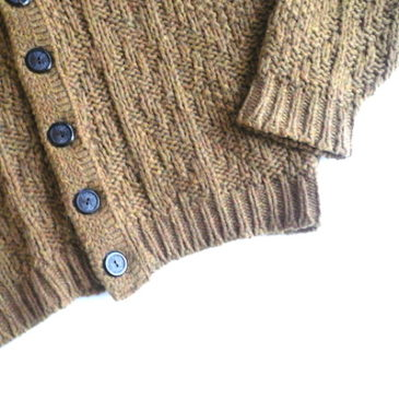 70's mustard yellow knit cardigan & 90's PENDLETON glen check pants