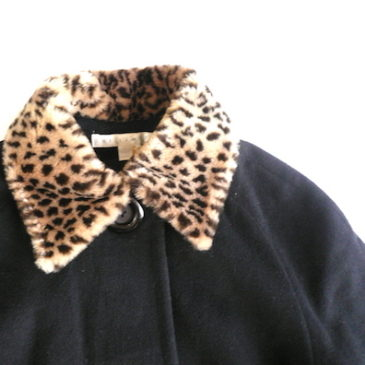 90's leopard fake fur collar coat