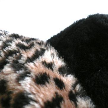 80s leopard collar brown fake fur coat