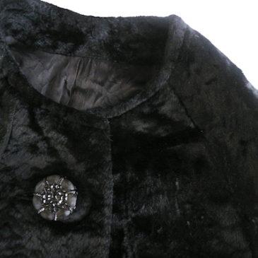 60's black velours no-collar coat
