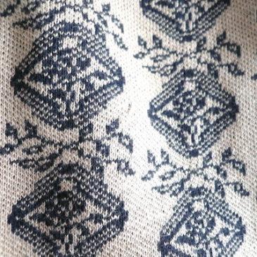 90's〜 black mohair knit sweater & 70's black beige jacquard skirt
