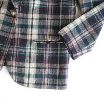 late80〜90's wool plaid single jacket