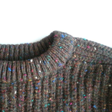 80~90's multi color nep brown bulky sweater