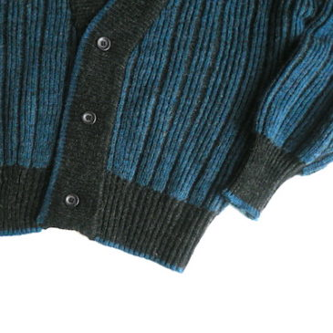 80's snap button black one-piece dress &  blue charcoal grey knit cardigan