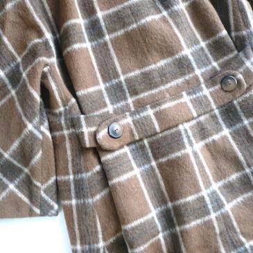 60's brown plaid wool coat