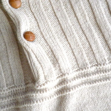 80's ivory button sweater & 70's brown wool box pleated skirt