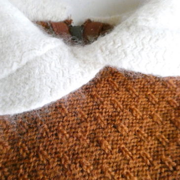 50's white collar orange brown knit sweater & black gold paysley skirt