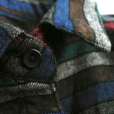 80's dolman sleeves blouse & terra-cotta brown wool pants