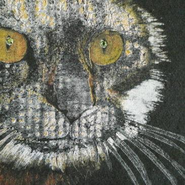 90's rhinestone eyes cat sweat shirt & 60's yellow horizontal stripe cotton skirt