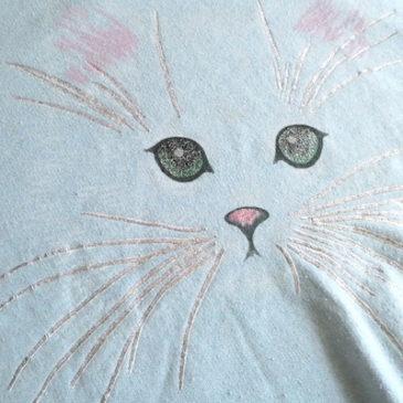 80's powder blue kitten sweat shirt & 80〜90's black cotton cat tote bag