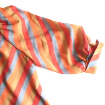 70's orange stripe one-piece dress & 90's beige twill cloth long skirt