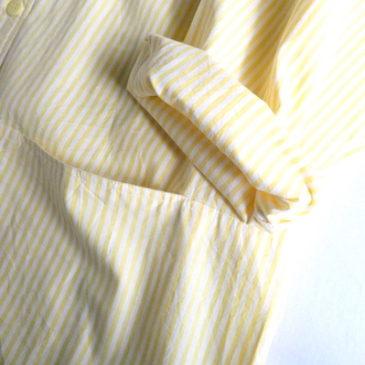 90's yellow white stripe shirt dress & cotton linen lignt beige knit