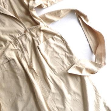 80's yellow beige cotton dress