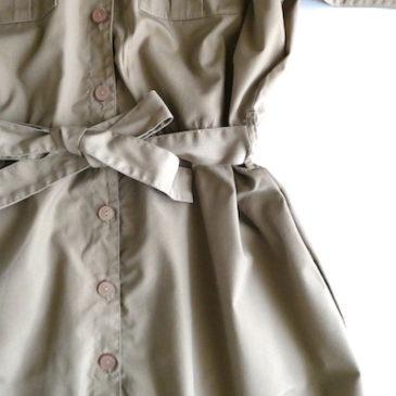 late70~80's beige no-colar dress & black cotton pin tuck one-piece dress
