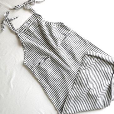 80's ivory linen tops & used gray stripe bib overalls