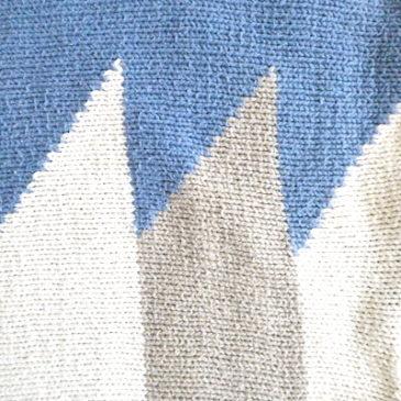 90's blue gray summer knit & sax blue white stripe easy pants