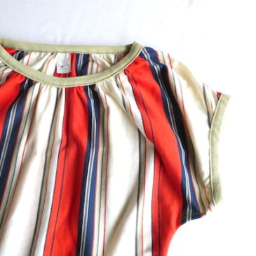 70's tricolor frech sleeves tops & sears terra-cotta green summer knit