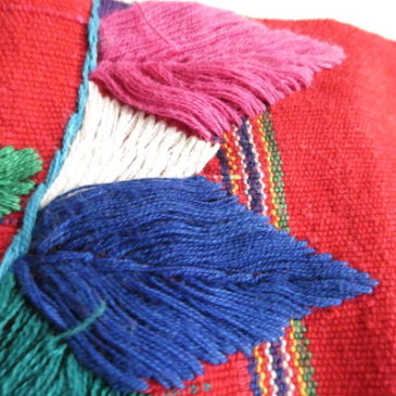 70's red mexican embroidery tops & beige cotton twill skirt