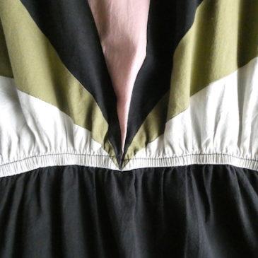 70's black olive pink cotton sun dress & blue stand collar one-piece dress