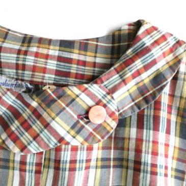 60's scallope collar plaid cotton one-piece dress