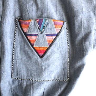 late80〜90's woven cloth yoke cotton one-piece dress
