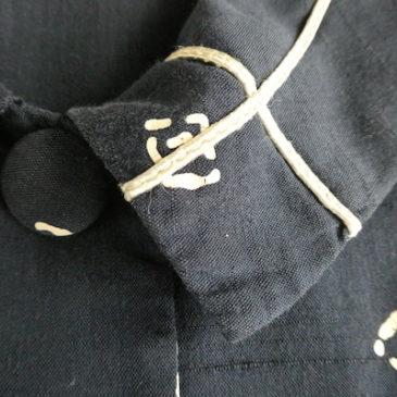 late50~60's navy flat collar dress