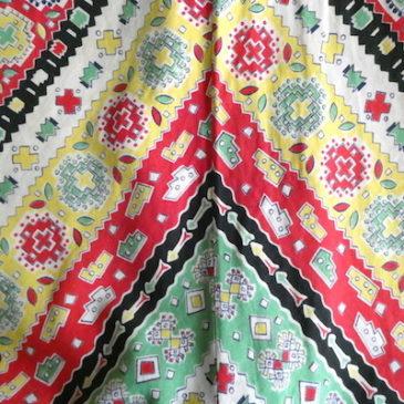 50's Girl Scouts deep green cotton shirt & 50〜60's ruffle hem cotton skirt