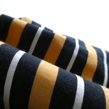 80's yellow black stripe cotton dress