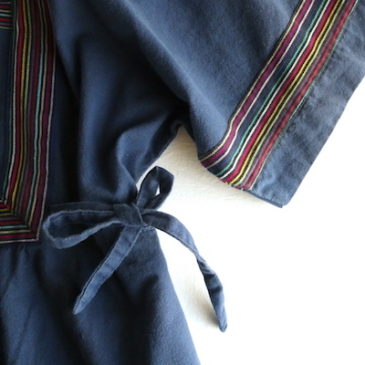 90's rainbow trim navy cotton dress