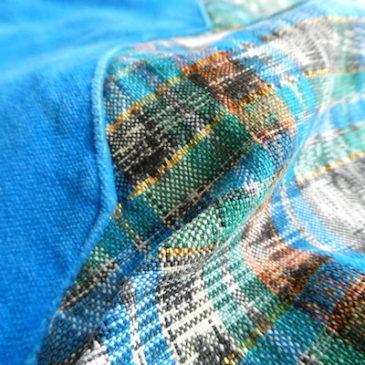 used blue velour trim pull over blouse & 70's moss green stripe cotton skirt