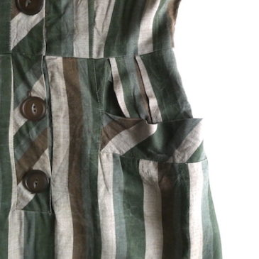 late50~60's moss green stripe dress & brown red stitch cotton dress