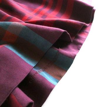 80〜90's navy cotton poly shirt dress & bordeaux pink plaid long skirt