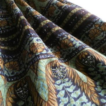 60's botanical printed cotton dress & big button black short JKT