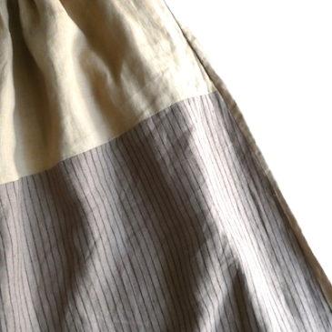 80〜90's rayon blend black blouse & used beige × stripe linen skirt